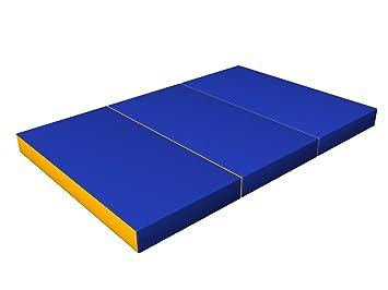 Colchoneta Plegable Suave Azul/Amarillo de Gimnasia para ...