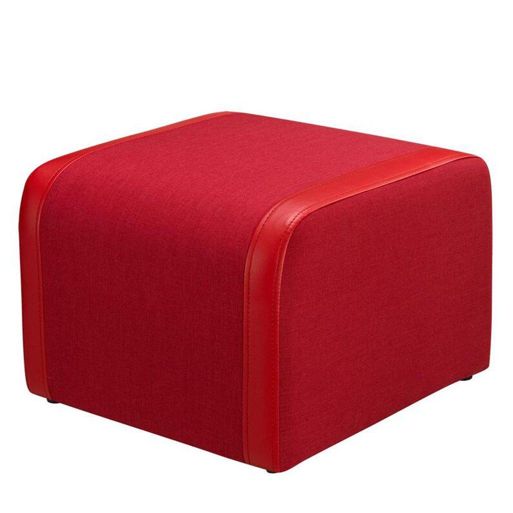 Silla Rollsnownow Cuero Rojo de la PU cambie el Taburete del Zapato Taburete de Madera del Caucho + de la Esponja Taburete bajo del Taburete del Taburete