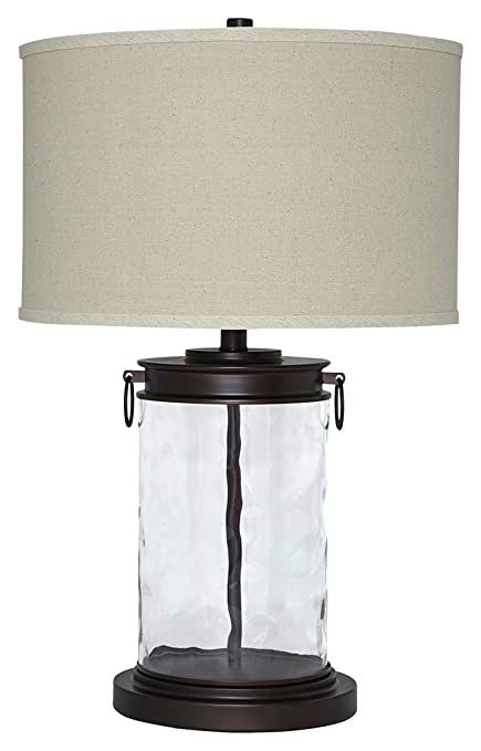 Ashley Furniture Signature Design   Tailynn Farmhouse Glass Table Lamp    Clear And Bronze Finish