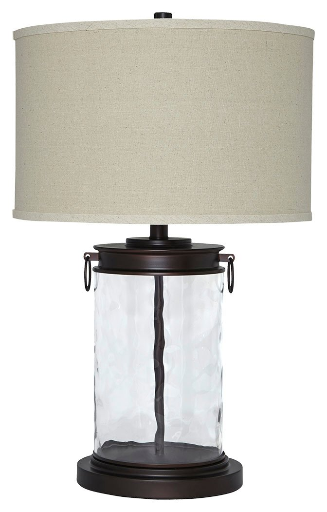 Ashley Furniture Signature Design - Tailynn Farmhouse Glass Table Lamp - Clear and Bronze Finish