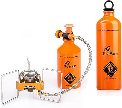 Fire-Maple FMS-F5 estufa de alcohol gasolina quemador de alcohol hornillo portátil al aire libre camping acampada con soporte+ B330 botella de ...