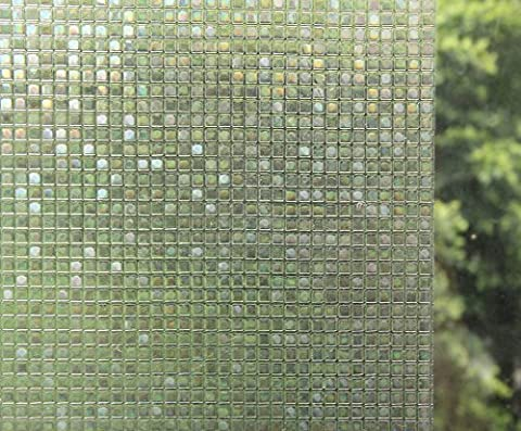 Bloss Etched Window Privacy Window Coverings Window Vinyl Mosaic Glass Window Film No-Glue 3D Static Cling Film for Window Privacy Protection, 17.7