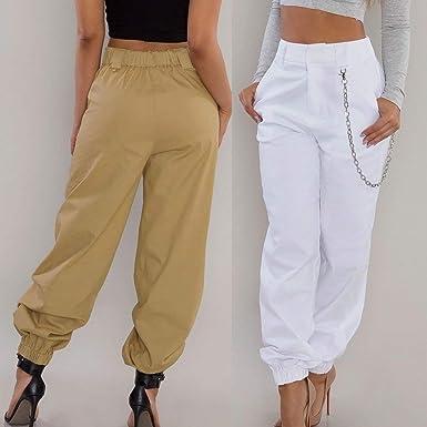Beudylihy Pantalone Largo Donna con Catena e Tasche Baggy Hip Hop Harem  Pants Punk Rock Lunghi Salopette Pantaloni Cargo Ragazza Moda Leggins da  Danza ... 5dbf0c37258a