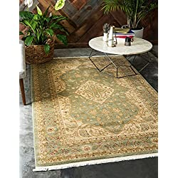 Unique Loom Edinburgh Collection Oriental Traditional French Country Light Green Area Rug (5' x 8')