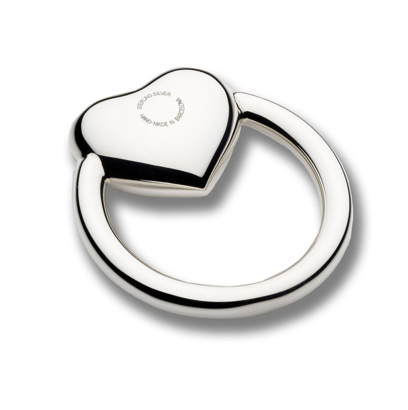 Cunill Heart Ring Baby Rattle, 2-Inch, Sterling Silver by Cunill