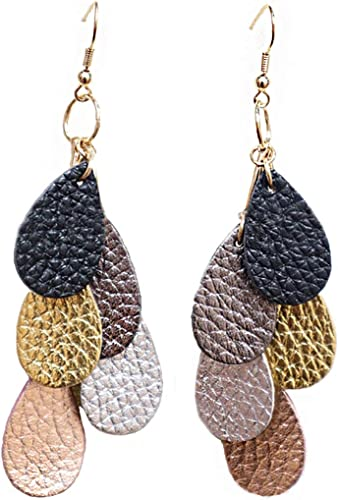Leather Accessories Dangle Earring Faux Leather Earring Gift For Her Teardrop Earring