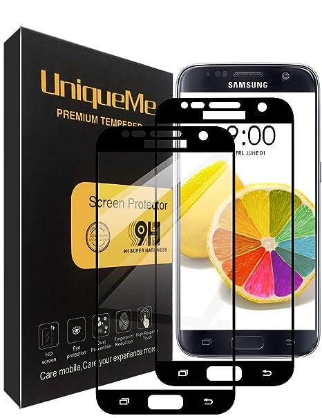 UniqueMe Compatible with Schutzfolie Galaxy S7,Galaxy S7 Panzerglas, [2 Stück] Full Cover Gehärtetem Glas Hartglas Displaysch