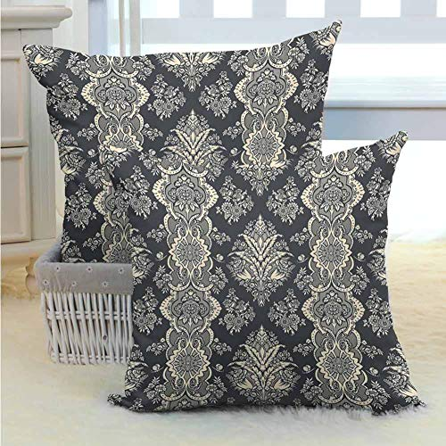 Anyangeight Damask Decorative Pillow Cover Victorian Style Baroque Classic Pattern with Ornamental Floral Leaves Image Soft and Breathable for Couch/Bed/Sofa 2PCS, W20 x L20 inch Charcoal Grey Cream
