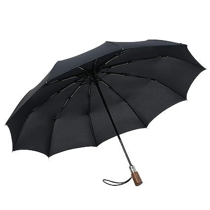 74cadaac0e74 Amazon.com: Solid Wood Handle Fully Automatic Male Folding Umbrella ...