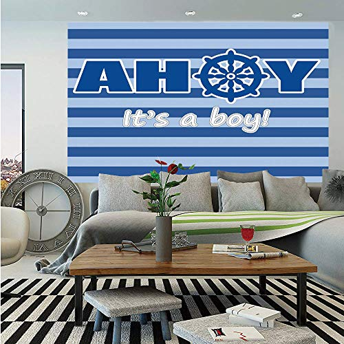 Ahoy Its a Boy Huge Photo Wall Mural,Baby Shower New Birth Announcement Marine Wheel Striped Backdrop,Self-Adhesive Large Wallpaper for Home Decor 108x152 inches,Light Blue Blue -