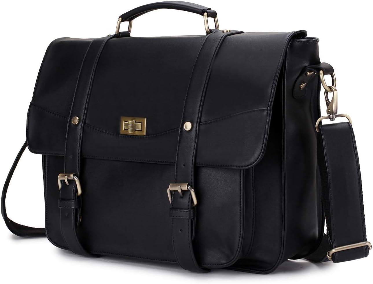 Briefcase for Women,14 Inch Laptop Messenger Bag PU Leather Top Handle Shoulder Bag Satchel