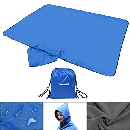 FANCYWING Outdoor Fleece Blanket XL Hooded Stadium Mat – Waterproof Windproof Blanket for Camping, Picnic, Sports, Festival, Football, Baseball, Concerts, Grass, Dog, Beach 79 x 55 inches