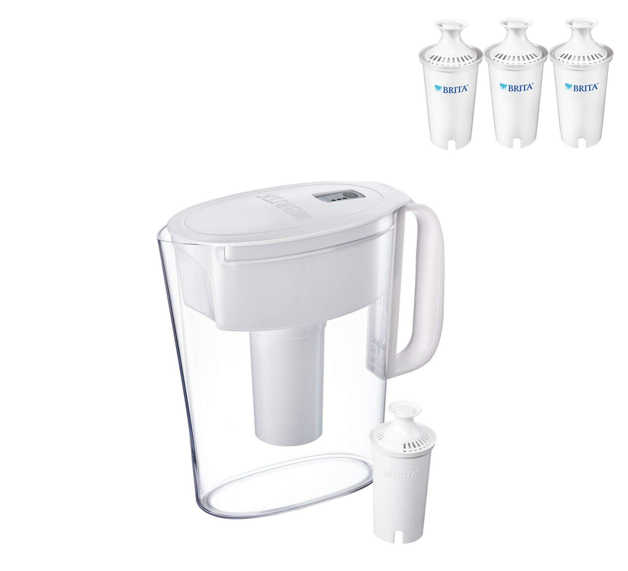 Brita Small 5 Cup Metro Water Pitcher - BPA Free - White (Pitcher with 4 Filters Included)