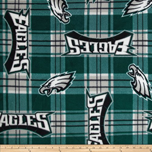 NFL Fleece Plaid Philadelphia Eagles Green Fabric By The Yard (Philadelphia Eagles Nfl Fleece)