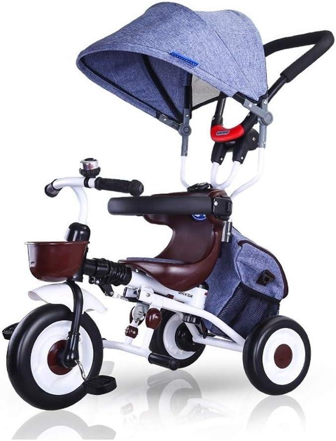 子供三輪車 SONG 子供用ベビーカー 折り畳み可能 ユニセックスベビーカー 自転車 多機能 滑り止めペダル 調整可能なオーニング 赤ちゃんのおもちゃギフト (Color : Blue)