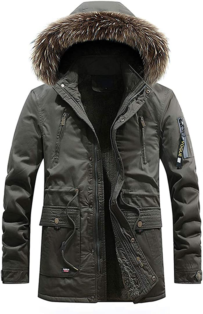 Mens  Fur Jackets Thicken Warm Coat Slim Fit Hood Winter Slim Outwear New
