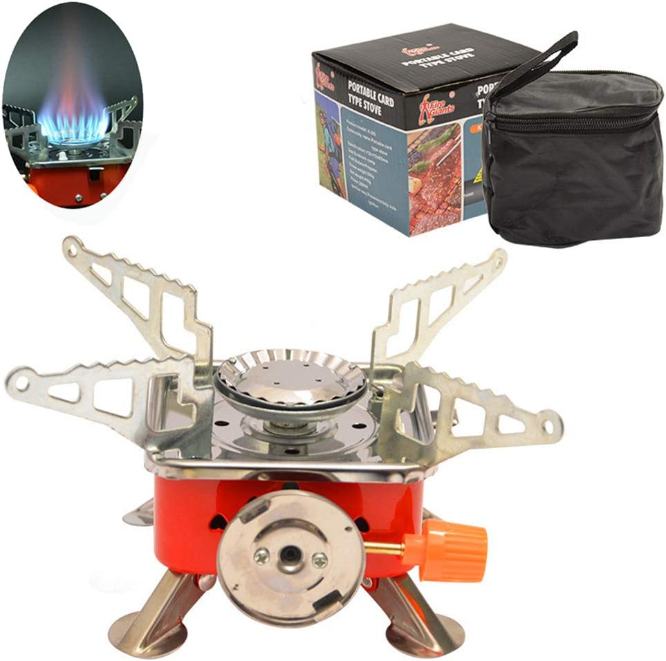 Mini Windproof Foldable Stove Burner Camping Hiking BBQ Cookout Gas Stove w//Bag
