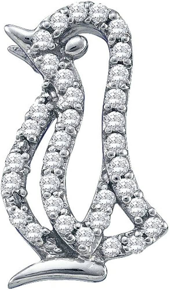 10K White Gold Diamond Penguin Bird Necklace Pendant 1/6 Ctw.