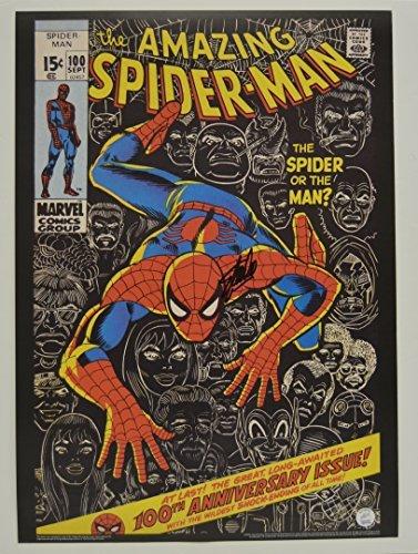 Stan Lee signed AMAZING SPIDER-MAN #100 Comic Cover Vintage MARVEL 20x28 Poster autographed Stan Lee Hologram