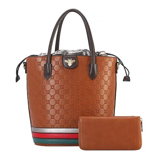 Amazon.com: Bolsas y bolsos de piel con asa superior para ...