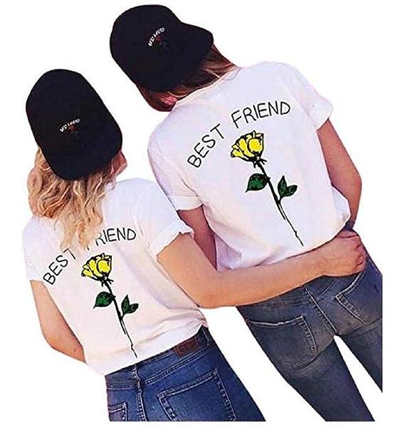 47fdfd915124c1 Shujin 1 Stücke Damen Mädchen Sommer Süß Partnerlook T-Shirt mit Rose  Aufdrucken Best Friends