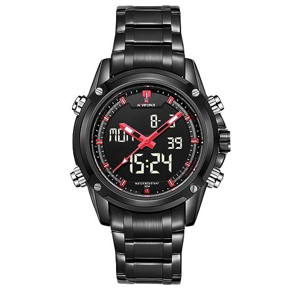 Reloj de pulsera, de la marca Naviforce, de estilo militar deportivo, color rojo