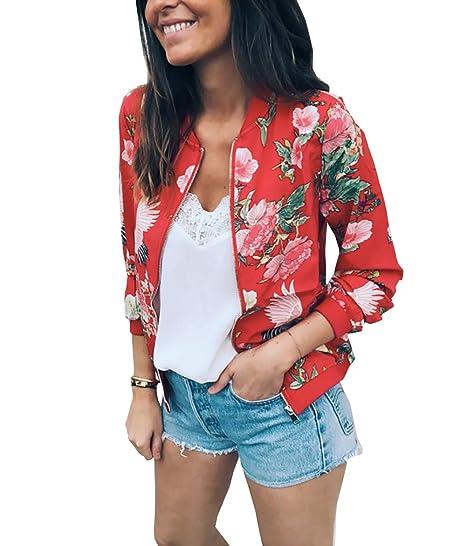 7e6f45ef77b5 PRETTYGARDEN Women s Long Sleeve Zip Up Floral Printed Classic Baseball  Biker Bomber Jacket Short Coat (