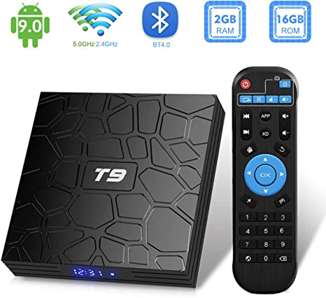 Android TV Box, T9 Android 9.0 TV Box 2GB RAM / 16GB ROM RK3318 Quad-Core Support 2.4 / 5Ghz WiFi BT4.0 4K 3D HDMI DLNA Smart TV Box: Amazon.es: Informática