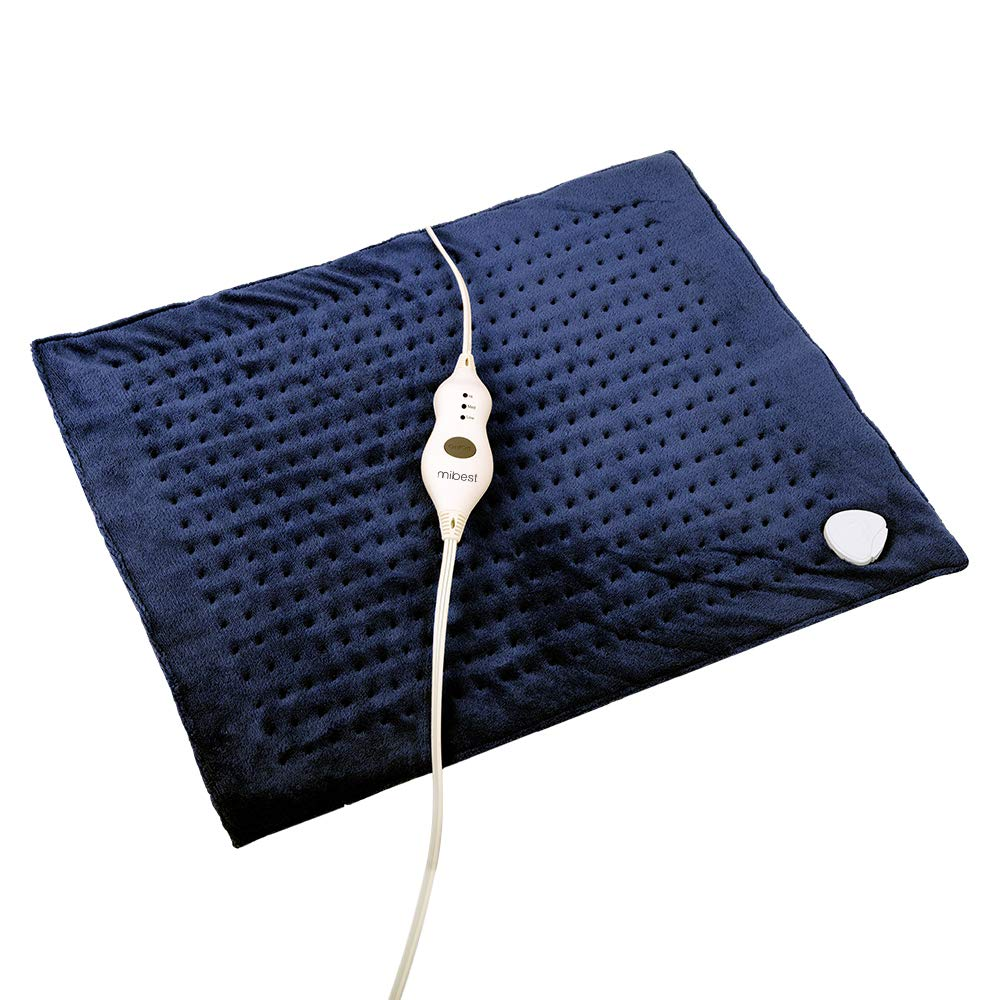"MIBEST XXXL Heating Pad with Fast-Heating Technology - 3 Temperature Settings Heat Pad with LED Indicators - XXX Large Charcoal Navy Pad (20"" x 24"")"