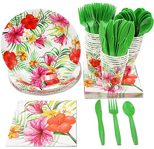 Blue Panda Hawaiian Luau Party Supplies – Serves 24 – Includes Plates, Knives, Spoons, Forks, Cups and Napkins Perfect for Birthdays and Summer Luau