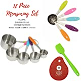 Cook's Fancy 12-Piece Stainless-Steel Measuring Cup & Spoon Gift Set with Colorful Silicone Handles, Bonus: Dough Scraper & Spatula
