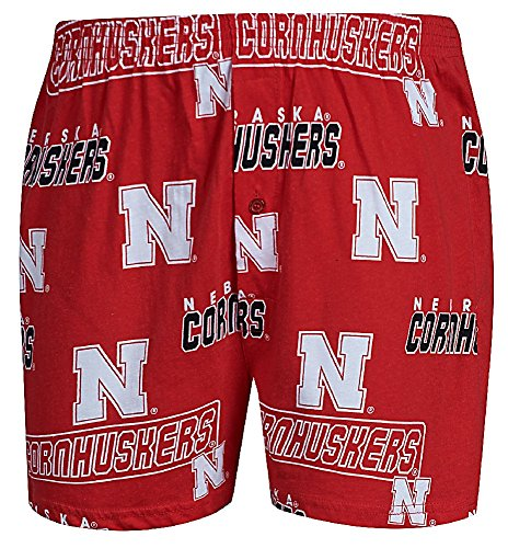 Nebraska Cornhuskers Mens Red AOP Cotton Slide Boxer Shorts (Nebraska Boxer)