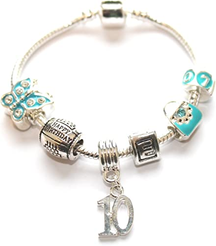Liberty Charms Grand Daughter Childrens Blue Butterfly Silver Plated Charm//Bead Bracelet