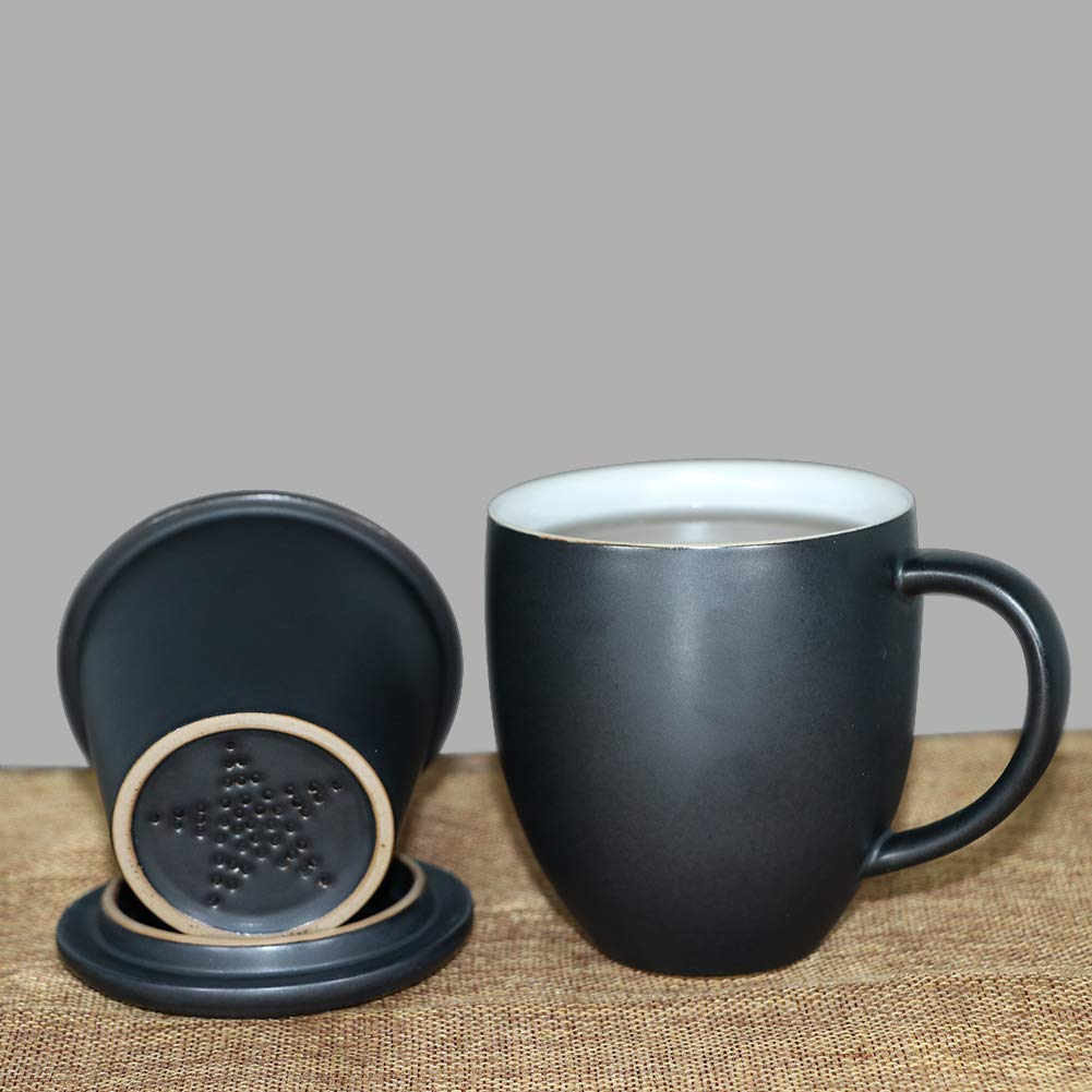 Sunddo Cup Ceramic Tea Brewing Cup with Infuser Basket and Lid for Steeping Loose Leaf Tea Maker Mug for Grandma Grangpa Women Men Mom Dad Tea Lovers 13 OZ,Black
