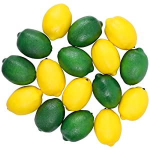 CEWOR 16pcs Fake Fruit Lifelike Lemons Simulation Lemon Artificial Fruit Decorations for Home House Kitchen Party Decoration (Green and Yellow)