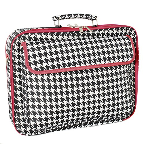 World Traveler 17 Inch Laptop Computer Case, Red Trim Houndstooth, One Size (Attache Case For Women)