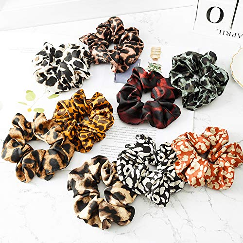 Aegenacess 9 Pack Hair Scrunchies Ties Set Large Soft Leopard Print Chiffon Fabric Color Bow Ponytail Holder Headband for Women Girls Fashion Pieces Accessories Accessory (9 Colors)
