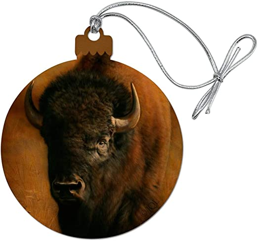 Buffalo Bison Metal Christmas Tree Ornament Holiday Decoration Raw Steel Gift Re