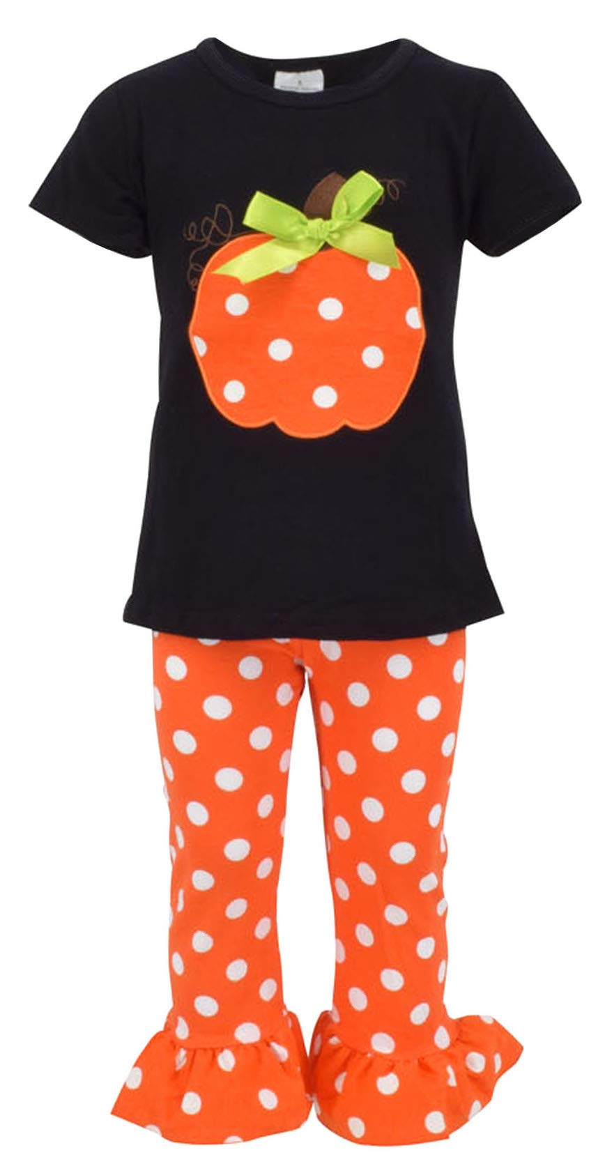 Unique Baby Girls Fall Fashion Halloween Polka Dot Pumpkin Outfit (3t)