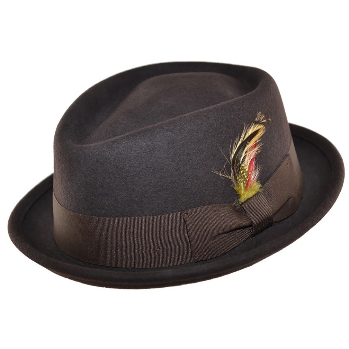 MAZ Felt Diamond Crown Pork Pie Hat - Brown