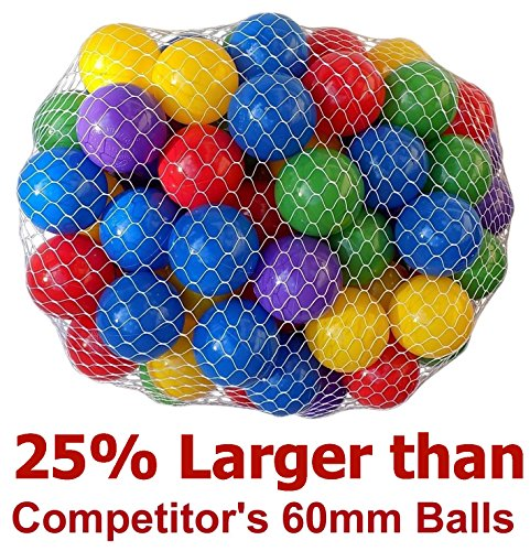 My Balls Pack of 50 Large 2.5 65mm Ball Pit Balls - 5 Bright Colors; Crush-Proof Air-Filled; Phthalate Free; BPA Free; Non-Toxic; Non-PVC; Non-Recycled Plastic