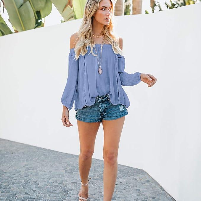 284dd4bf99dc Womens Casual Off Shoulder Tops Long Sleeve Sweatshirt T Shirt Blouse Beach  Kimono Long Beach Tops Women Betty Barclay Black Dress Peplum Blouses  Women  ...