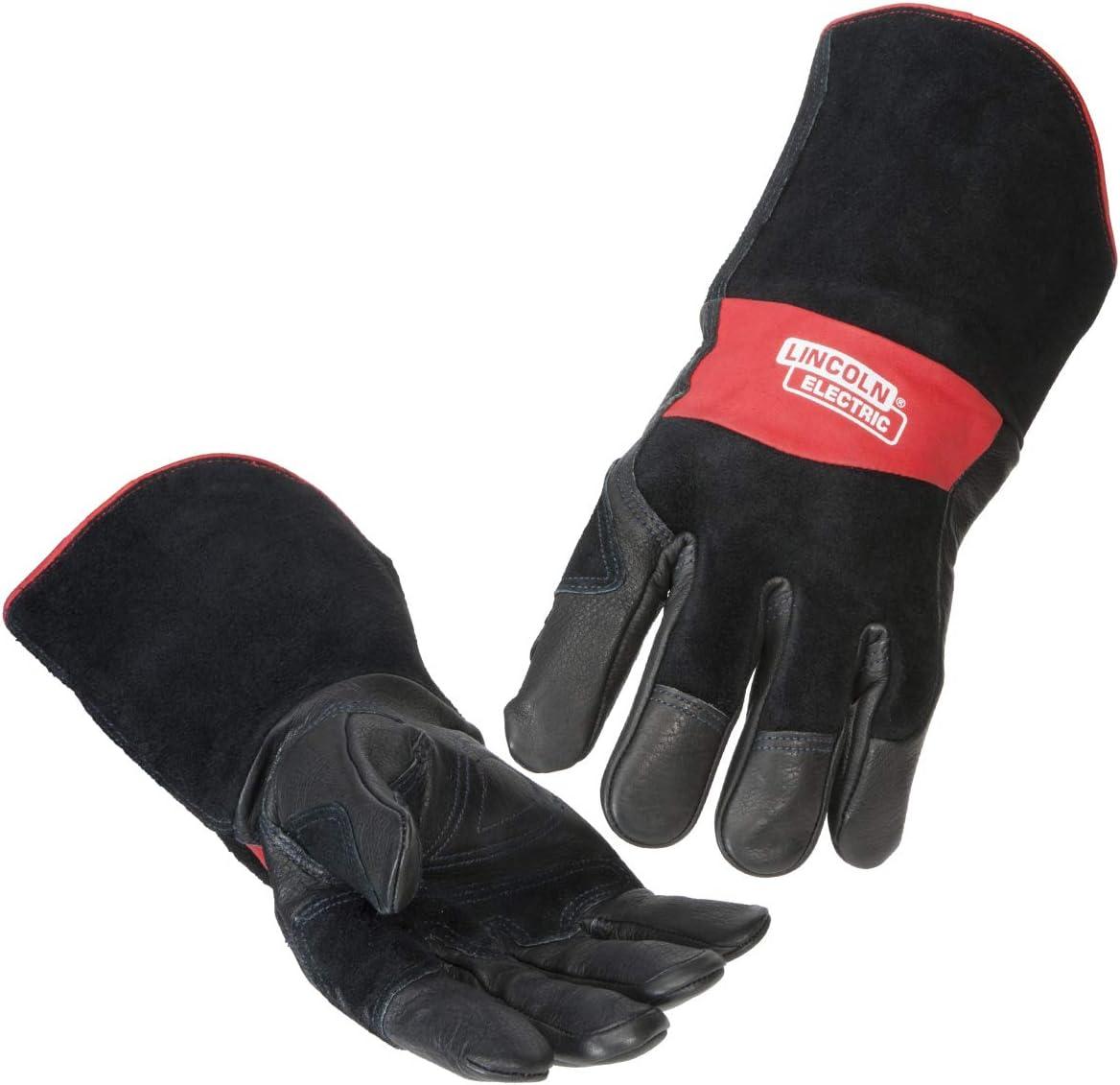 Lincoln Electric Premium Leather MIG Stick Welding Gloves | Heat Resistance & Dexterity| Medium | K2980-M,black, Red