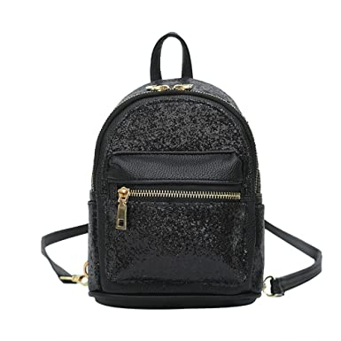 bcd318924470 Amazon.com  Girls Cute Sequin Mini Backpack Leather Purse Women Backpack  Leather Cross Body Bag Black  Shoes