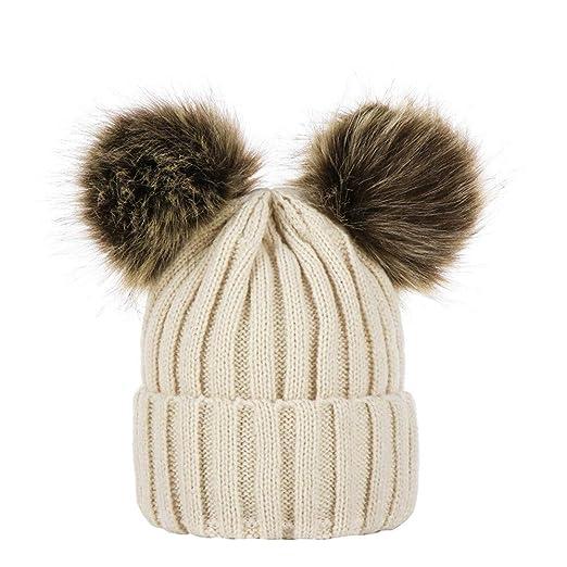 61503c4f9f23 aliveGOT Kids Faux Fur Ball Double Pompom Ears Bobble Hat Knitted Beanie Hat  (Beige)