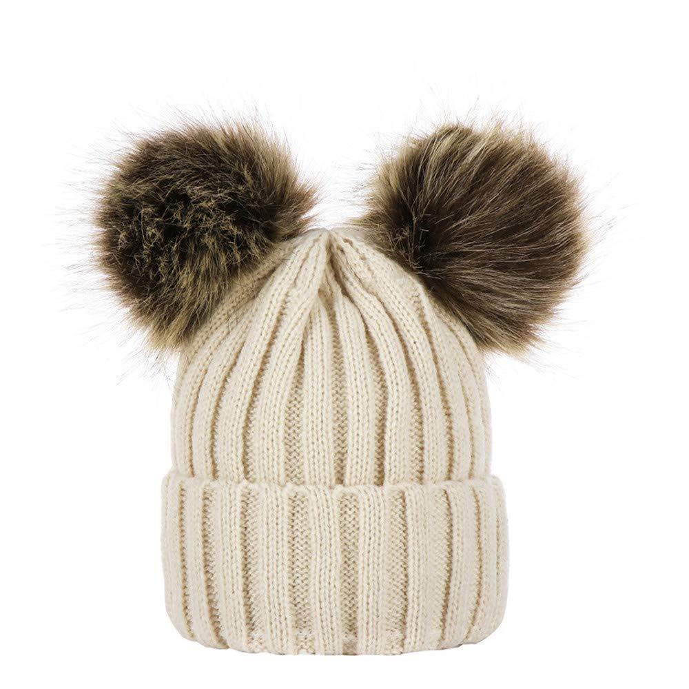 aliveGOT Kids Faux Fur Ball Double Pompom Ears Bobble Hat Knitted Beanie Hat (Beige)