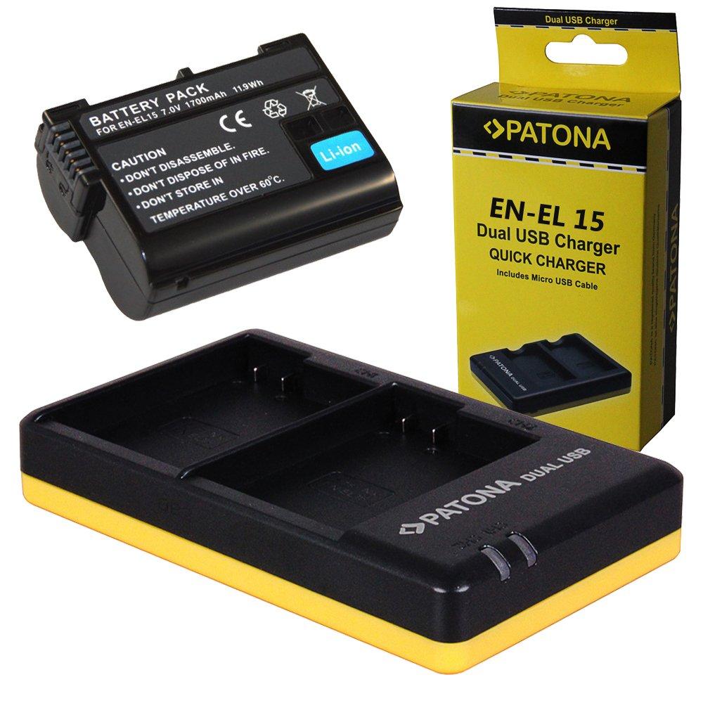 Dual Cargador PATONA + 1x Bateria para Nikon EN-EL15 D7000 D7100 ...