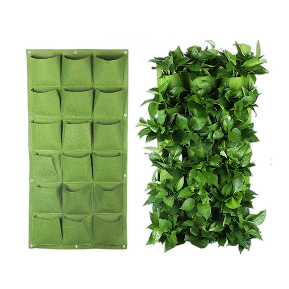 Angzhili 18 Pockets Wall Hanging Planter Bags for Wall Wall-Mounted Growing Bags for Indoor Vertical Hanging Wall Planter Green Planter Pouch Green