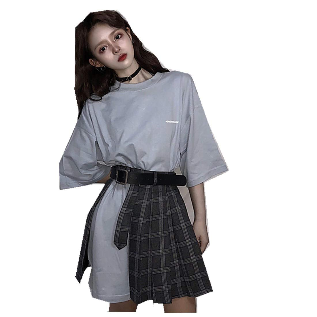 Women Real Shot BF Wind Printing Short-Sleeved T Plaid Skirt (with Belt)