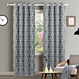 Cheap CAROMIO Blackout Curtain Panels, Lattice Moroccan Print Room Darkening Thermal Insulated Grommet Blackout Curtain Drapes for Bedroom with Tiebacks – 52 x 63 Inches, Grey (2 Panels)